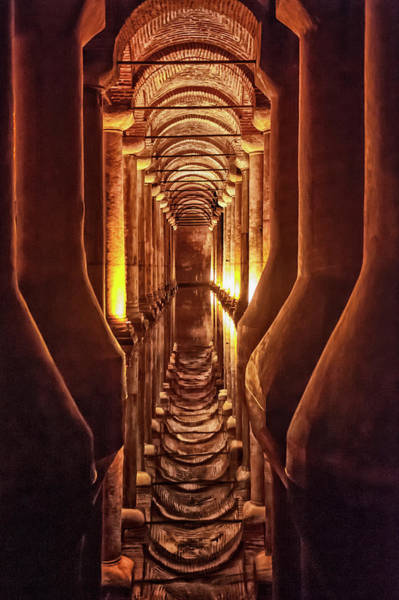 Vertical Perspective Photograph - Basilica Cistern, Istanbul by Gabrielle Therin-weise