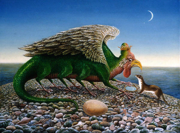 Weasel Wall Art - Photograph - Basilisk, 1986 Oils And Tempera On Paper by Frances Broomfield