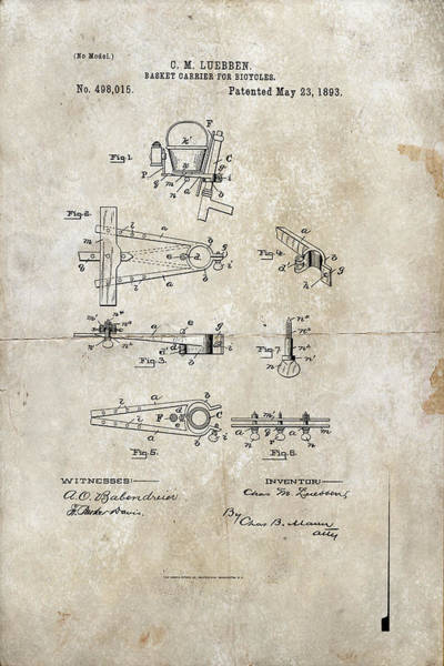 Digital Art - Basket Carrier For Bicycles Patent 1893 by Paulette B Wright