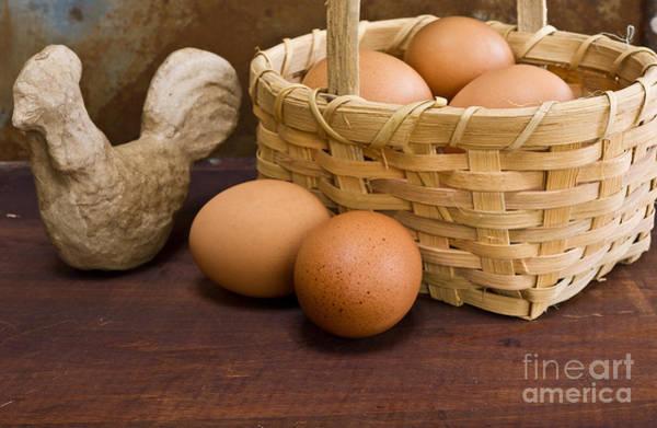 Wall Art - Photograph - Basket Of Farm Fresh Eggs by Edward Fielding