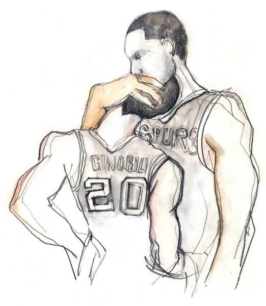 Shooting Mixed Media - Basketball Brothers by Carolyn Weltman