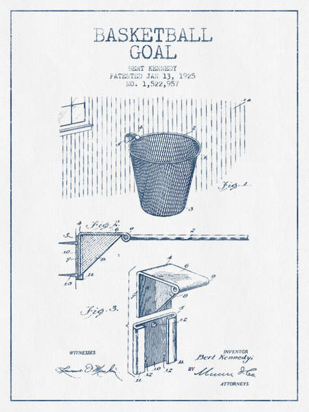 Association Digital Art - Basketball Goal Patent From 1925 - Blue Ink by Aged Pixel
