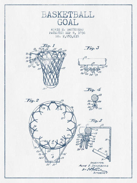 Association Digital Art - Basketball Goal Patent From 1936 - Blue Ink by Aged Pixel