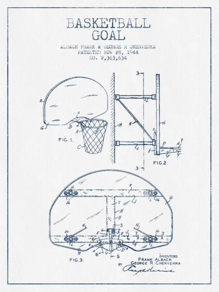 Association Digital Art - Basketball Goal Patent From 1944 - Blue Ink by Aged Pixel