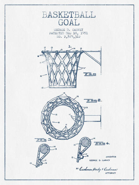 Association Digital Art - Basketball Goal Patent From 1951 - Blue Ink by Aged Pixel