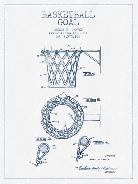 National Basketball Association Wall Art - Digital Art - Basketball Goal Patent From 1951 - Blue Ink by Aged Pixel