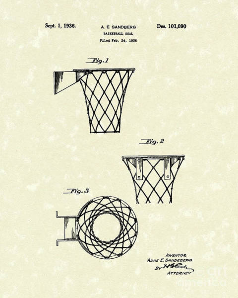 Wall Art - Drawing - Basketball Hoop 1936 Patent Art by Prior Art Design