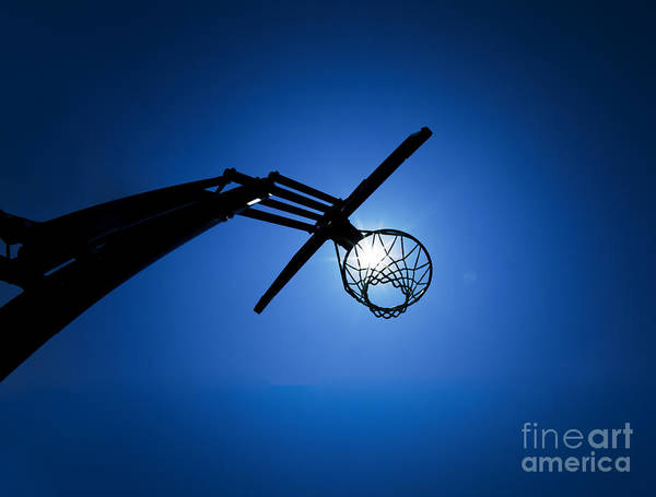 Hoop Photograph - Basketball Hoop Silhouette by Diane Diederich