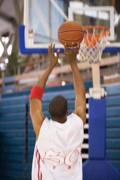 Hoop Photograph - Basketball Player Shooting by Gustoimages/science Photo Library