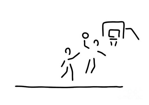 Lineart Drawing - Basketball Usa Basketball Player by Lineamentum