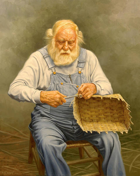 Basket Painting - Basketmaker  In Oil by Paul Krapf