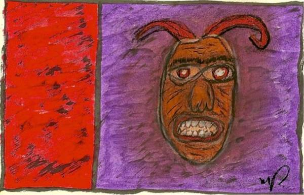 Drawing - Basquiat - Demon 11-004 by Mario MJ Perron