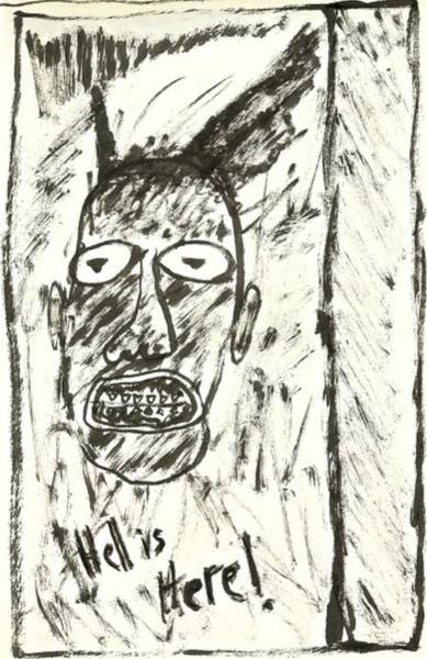 Drawing - Basquiat - Hell Here 11-004 by Mario MJ Perron
