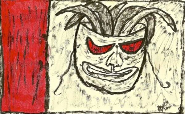 Drawing - Basquiat - Mask 11-002 by Mario MJ Perron