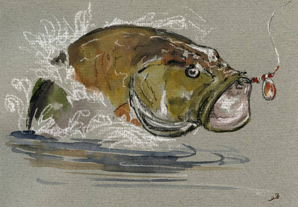 Sport Fishing Wall Art - Painting - Bass Fishing by Juan  Bosco