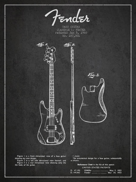 Electric Guitar Wall Art - Digital Art - Bass Guitar Patent Drawing From 1960 by Aged Pixel