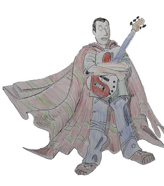 Drawing - Bass Guitarist Cartoon by Mike Jory