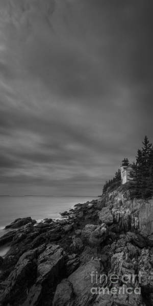 Dreary Photograph - Bass Harbor Head Lighthouse Bw Pano by Michael Ver Sprill