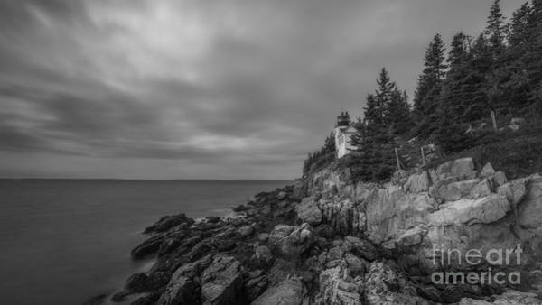 Dreary Photograph - Bass Harbor Head Lighthouse Bw Slim Crop by Michael Ver Sprill