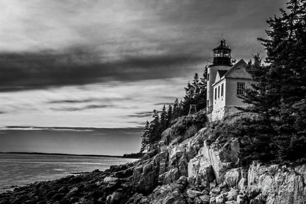 Photograph - Bass Harbor Head Lighthouse Monochrome  by Jim McCain