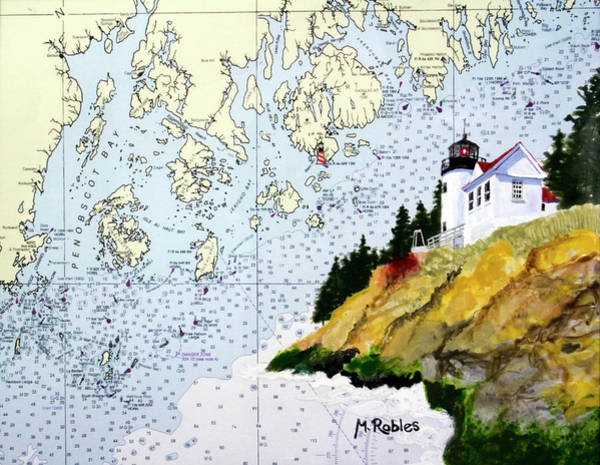 Noaa Chart Wall Art - Painting - Bass Harbor Lighthouse On Noaa Chart by Mike Robles