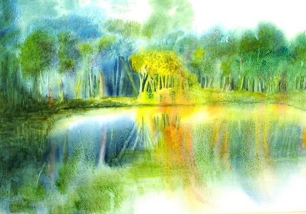 Painting - Bass Lake Light  by Peter Senesac