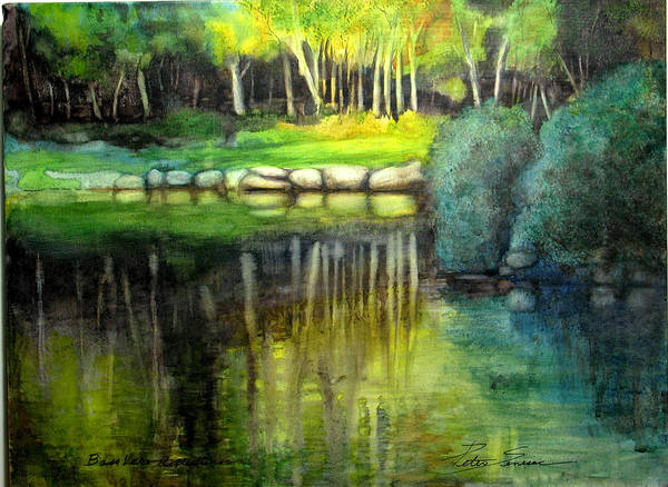 Painting - Bass Lake Reflection by Peter Senesac