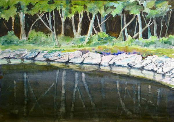 Painting - Bass Lake Trees by Peter Senesac