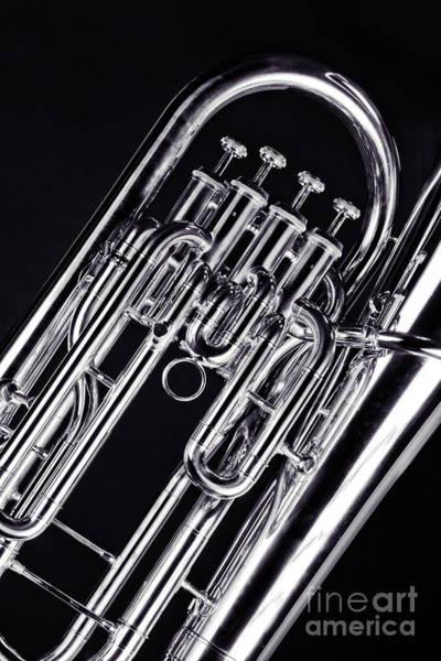 Wall Art - Photograph - Bass Tuba Brass Instrument Valves Photo In Sepia 3395.01 by M K Miller