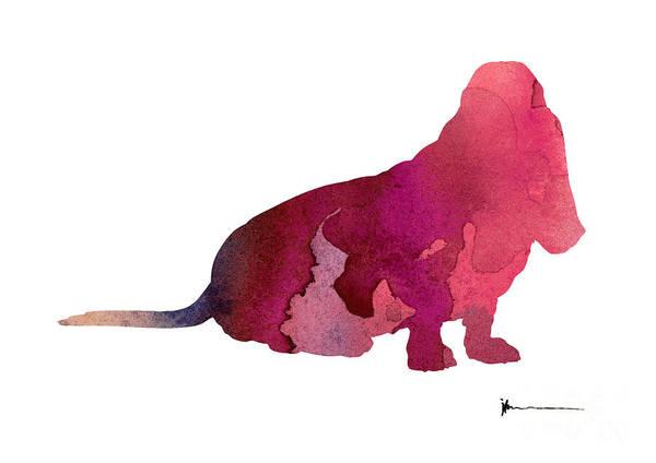 Basset Wall Art - Painting - Basset Dog Painting Watercolor Art Print by Joanna Szmerdt