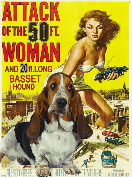 Wall Art - Painting - Basset Hound Art Canvas Print - Attack Of The 50ft Woman Movie Poster by Sandra Sij