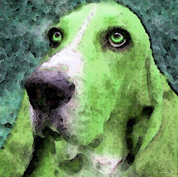Painting - Basset Hound - Pop Art Green by Sharon Cummings
