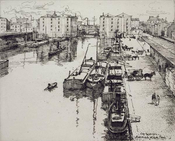 Moored Painting - Bassin De La Villette, From Du Ier Au by Eugene Bejot