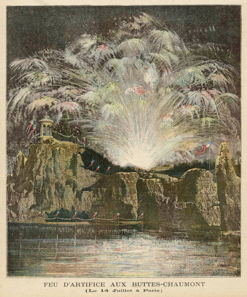 Wall Art - Drawing - Bastille Day Fireworks In The  Park by Mary Evans Picture Library
