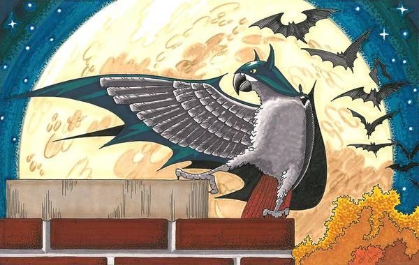 Trick Or Treat Drawing - Bat Bird by Dan Driscoll