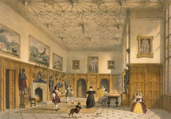 Antlers Drawing - Bat Game In The Grand Hall, Parham by Joseph Nash