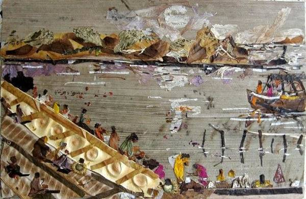 River Scene Mixed Media - Bath In River by Basant Soni