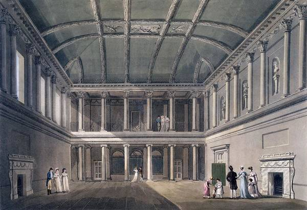 Fireplace Drawing - Bath, The Concert Room, From Bath by John Claude Nattes