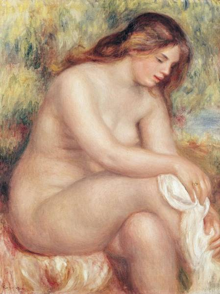 Ring Painting - Bather Drying Herself by Pierre Auguste Renoir