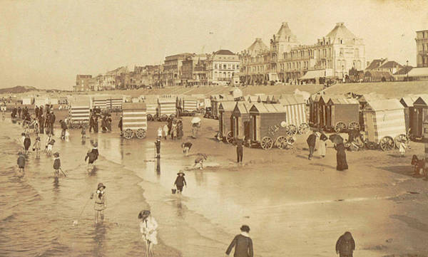 Bather Drawing - Bathers And Bathing Carriages On The Beach Of Blankenberge by Artokoloro