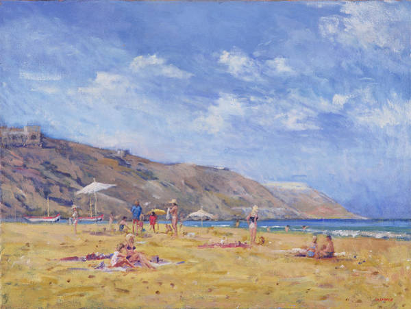 Sunbather Wall Art - Painting - Bathers, Gozo  by Christopher Glanville