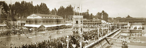Photograph - Bathhouse And Swimming Pool Neptune Beach Alameda California Circa 1915 by California Views Archives Mr Pat Hathaway Archives