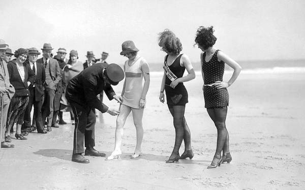 1921 Photograph - Bathing Suit Fashion Police by Underwood Archives