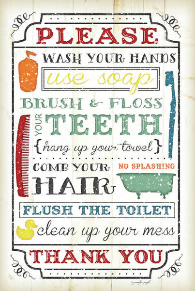 Sink Painting - Bathroom Rules by Jennifer Pugh