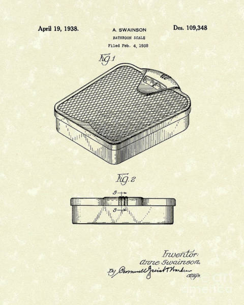 Drawing - Bathroom Scale 1938 Patent Art by Prior Art Design