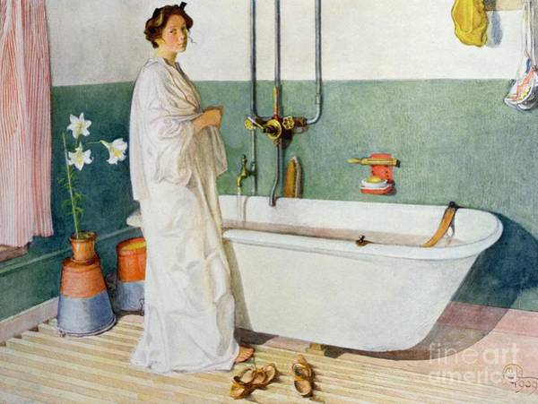 Tub Wall Art - Painting - Bathroom Scene Lisbeth by Carl Larsson