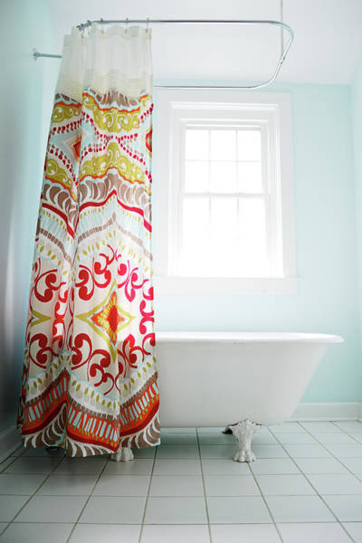 Shower Curtain Photograph - Bathroom Shower With Clawfoot Tub by Melissa Ross
