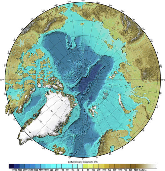 Noaa Chart Wall Art - Photograph - Bathymetry And Topography Of The Arctic by Noaa/science Photo Library