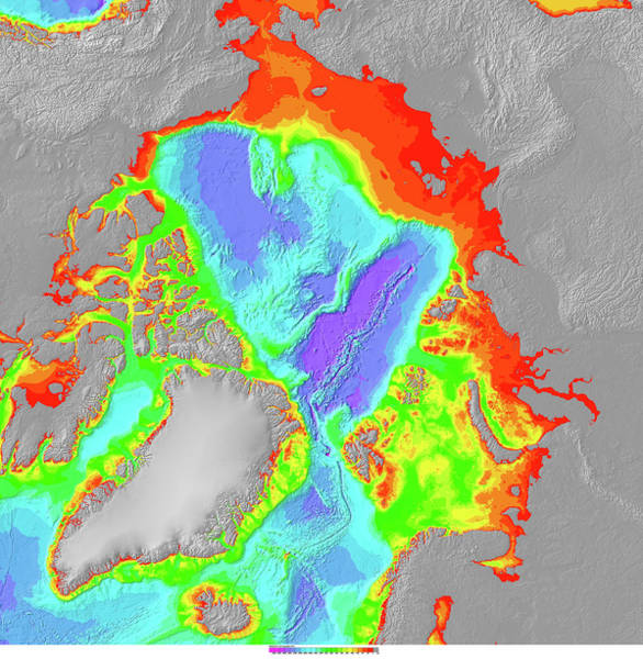 Noaa Chart Wall Art - Photograph - Bathymetry Of The Arctic Ocean by Noaa/science Photo Library