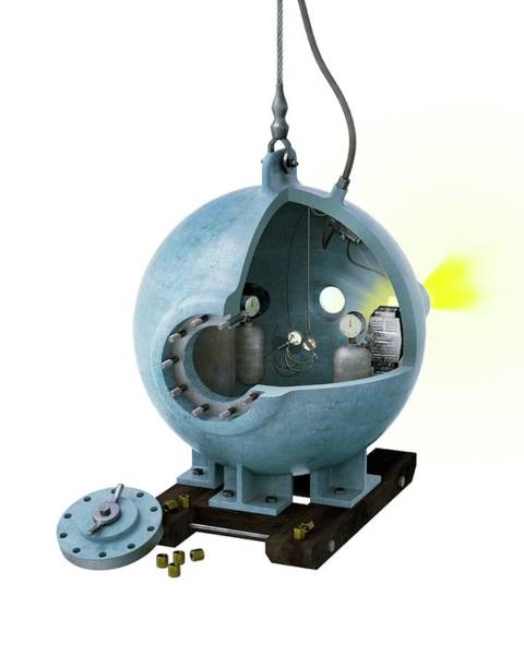Diving Bell Photograph - Bathysphere by Claus Lunau/science Photo Library